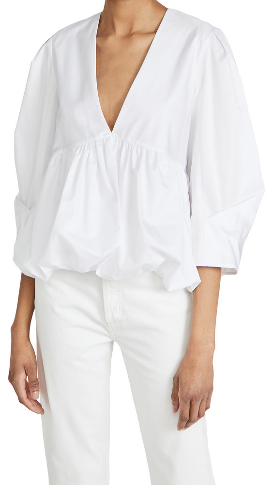 Tibi Sculpted Tucked Sleeve Top in white