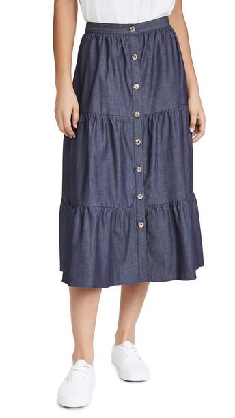 Shoshanna Basset Skirt in blue / denim