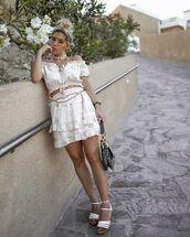 top,crop tops,off the shoulder,mini skirt,white skirt,white sandals,dior bag