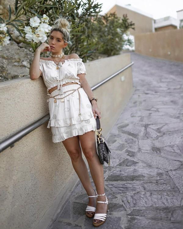 top crop tops off the shoulder mini skirt white skirt white sandals dior bag