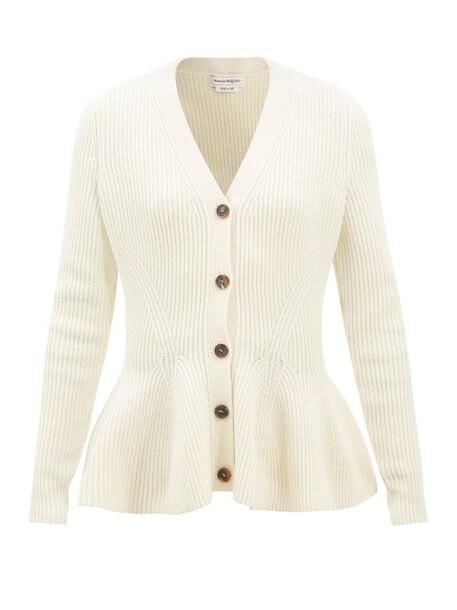 Alexander Mcqueen - Peplum-hem Ribbed Wool-blend Cardigan - Womens - Ivory