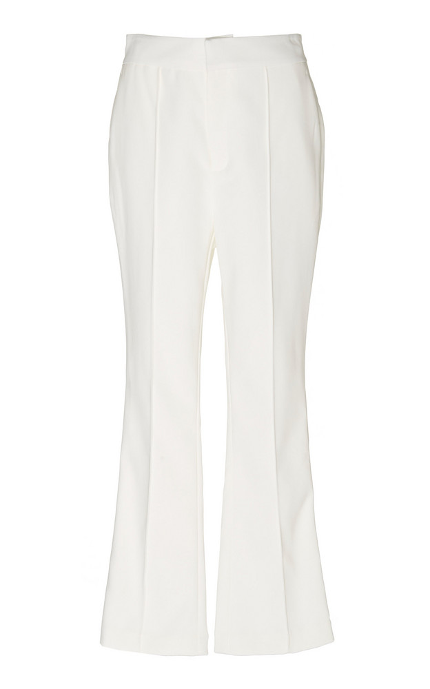 Acler Cecil Cropped Crepe Flared Pants in white