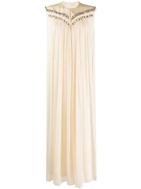 Chloé sleeveless pleated maxi dress in neutrals