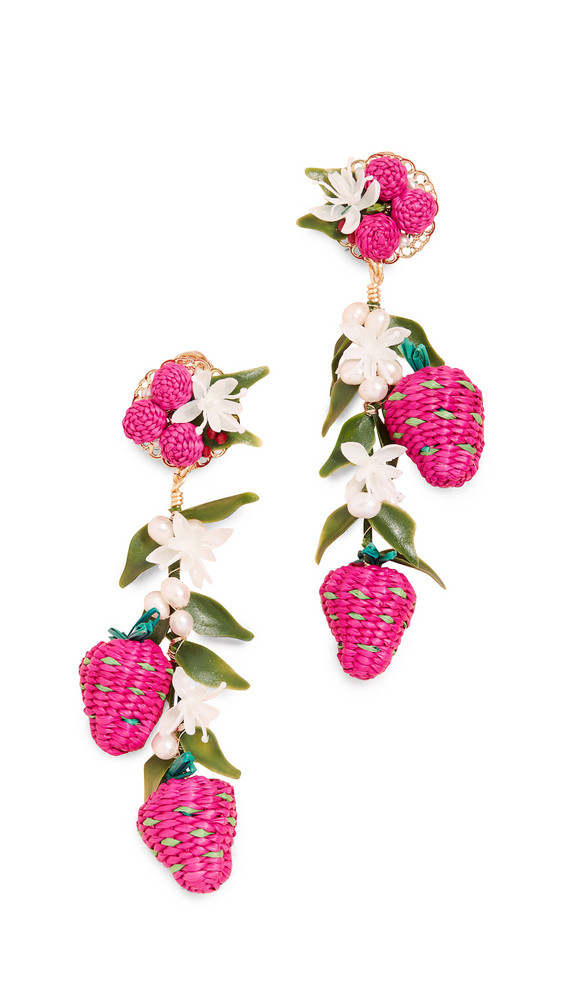 Mercedes Salazar Tropics Strawberry Earrings in green / pink