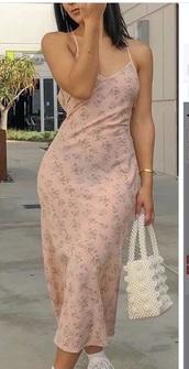 dress,maxi dress,pink dress,slip dress,patterned dress