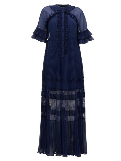 Self-portrait - Ruffle-trim Lace And Chiffon Maxi Dress - Womens - Navy
