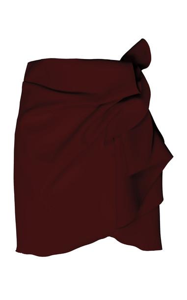 Acler Joleen Stretch-Knit Mini Skirt Size: 2 in burgundy