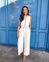jumpsuit,white jumpsuit,sleeveless,platform sandals,round bag