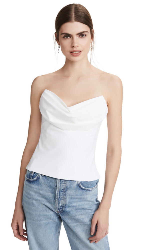 Cushnie Strapless Corset Top with Drape at Bust in white