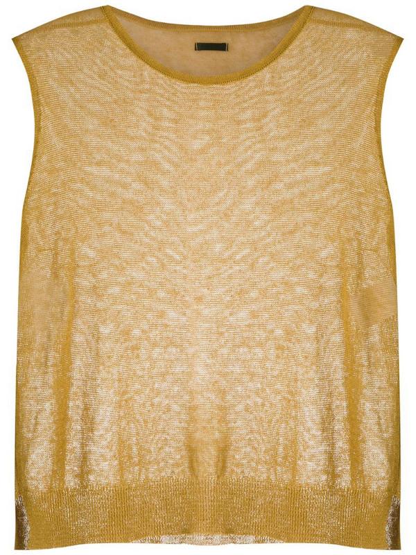 Osklen knitted linen tank in yellow