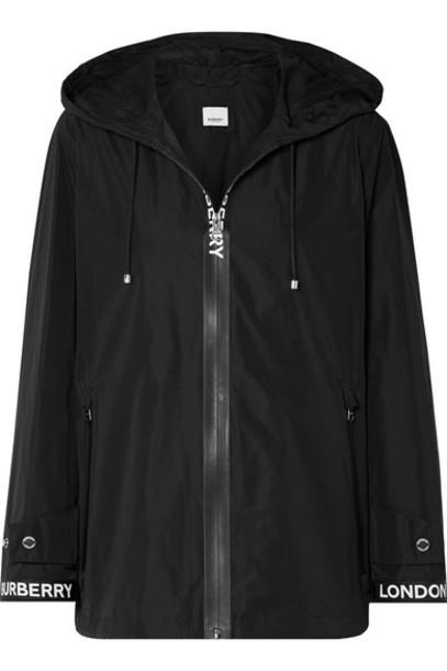 Burberry - Hooded Grosgrain-trimmed Shell Jacket - Black