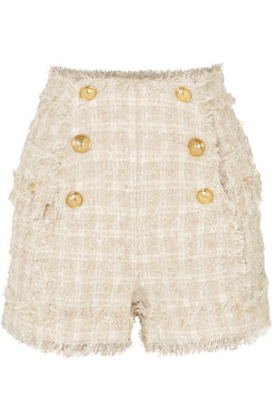 Balmain - Button-embellished Metallic Tweed Shorts - Beige