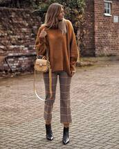sweater,turtleneck sweater,plaid,pants,ankle boots,black boots,bag,winter sweater