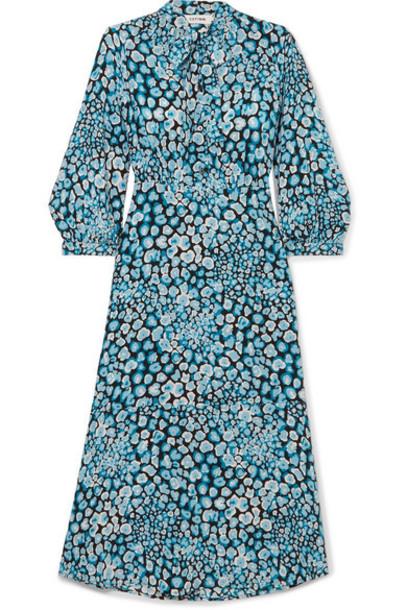 Cefinn - Pussy-bow Printed Silk Crepe De Chine Dress - Blue