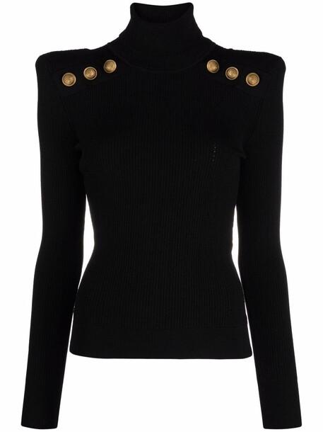 Balmain long-sleeve knitted roll-neck top - Black