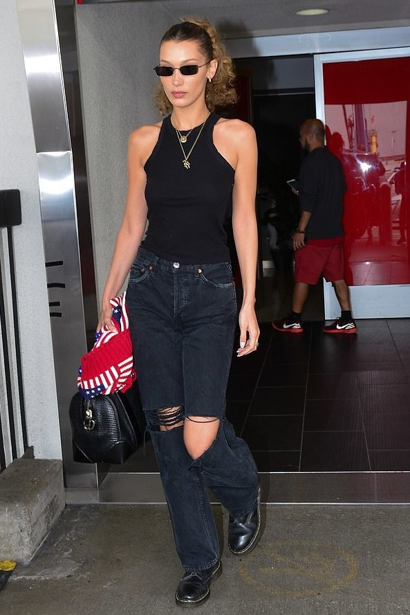 top bella hadid model off-duty pants