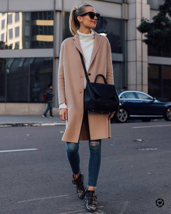 coat camel coat ankle boots black boots black bag crossbody bag white sweater turtleneck sweater