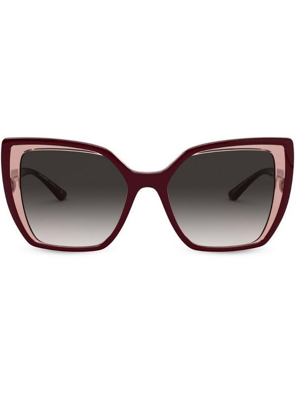 Dolce & Gabbana Eyewear layered cat-eye sunglasses in red