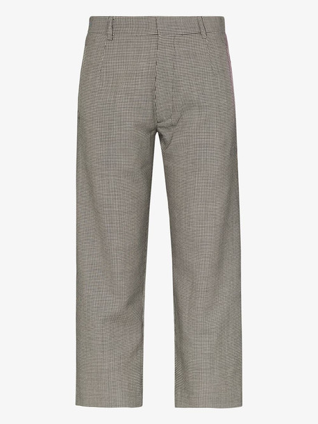 Delada dogtooth slim fit wool trousers in black