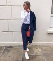 pants,navy pants,joggers,zara,white sneakers,white top,long sleeves,navy coat,crossbody bag
