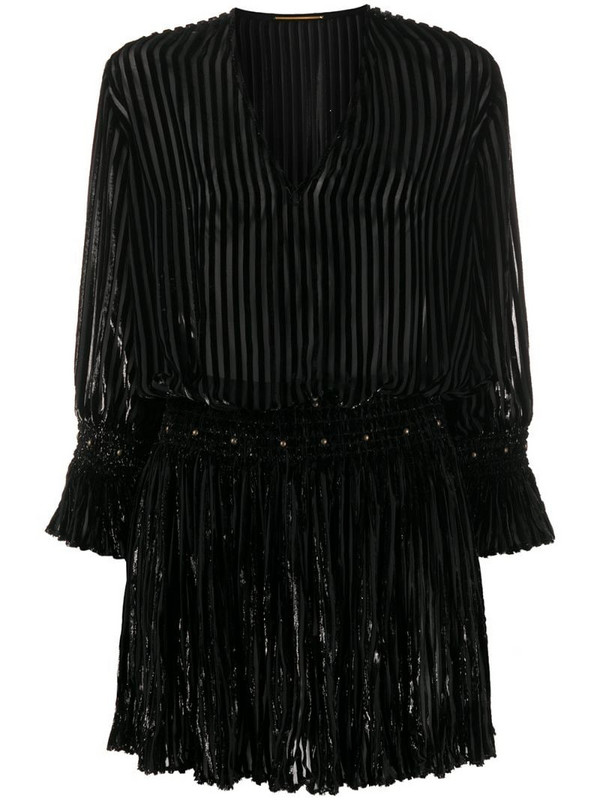 Saint Laurent metallic threading mini dress in black
