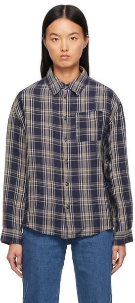 A.P.C. A.P.C. Navy Linen Plaid Boyfriend Shirt