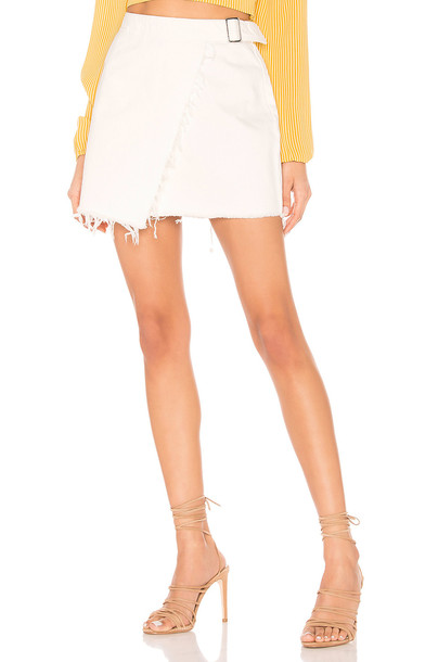 superdown Kensington Denim Wrap Skirt in white