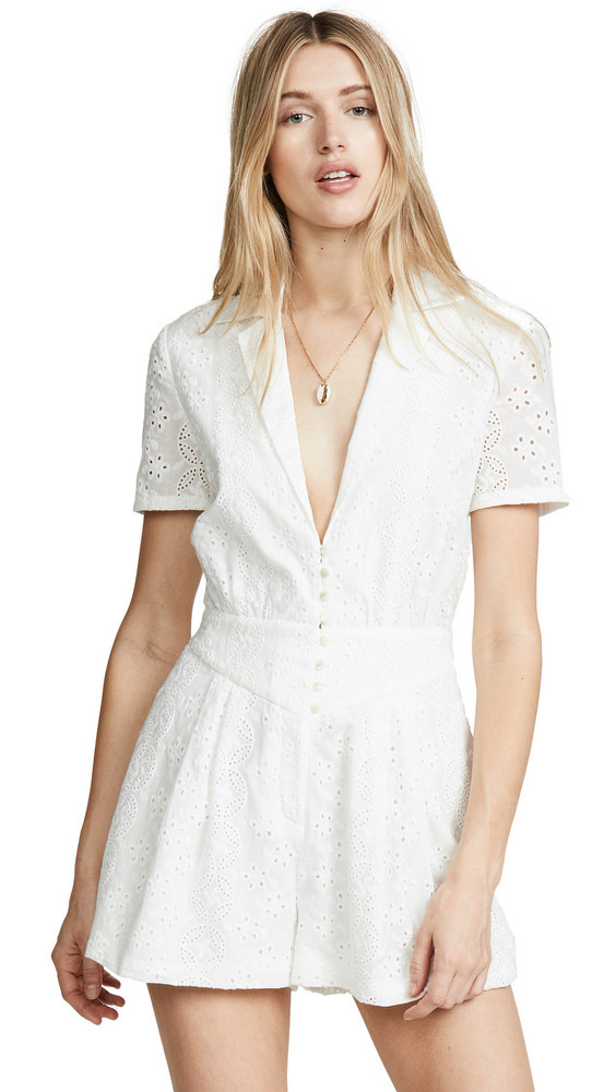 Divine Heritage Collared Button Up Pleated Romper in white