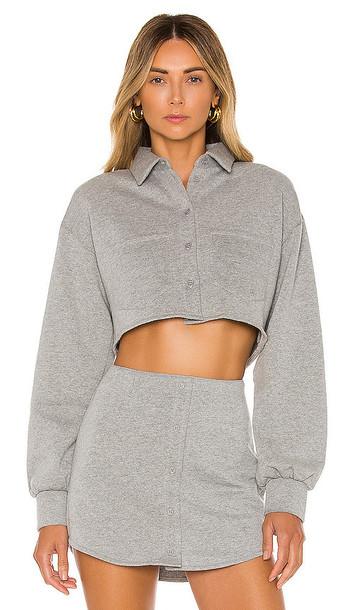 DANIELLE GUIZIO Fleece Button Up Blouse in Gray