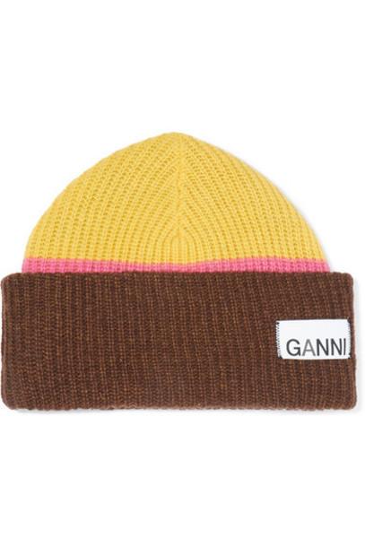 GANNI - Ribbed Striped Wool-blend Beanie - Lime green