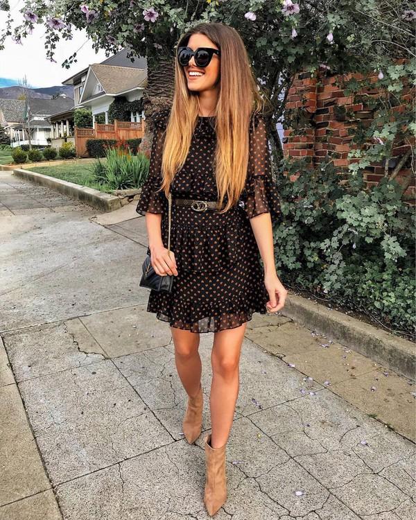 shoes heel boots ankle boots mini dress belted dress shoulder bag black bag black sunglasses
