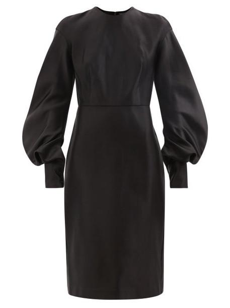 Tom Ford - Balloon-sleeve Silk-duchesse Midi Dress - Womens - Black