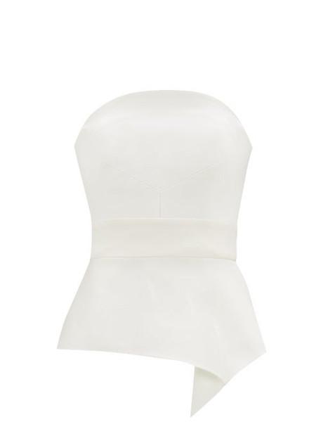 Roland Mouret - Penn Asymmetric Satin Bustier Top - Womens - White