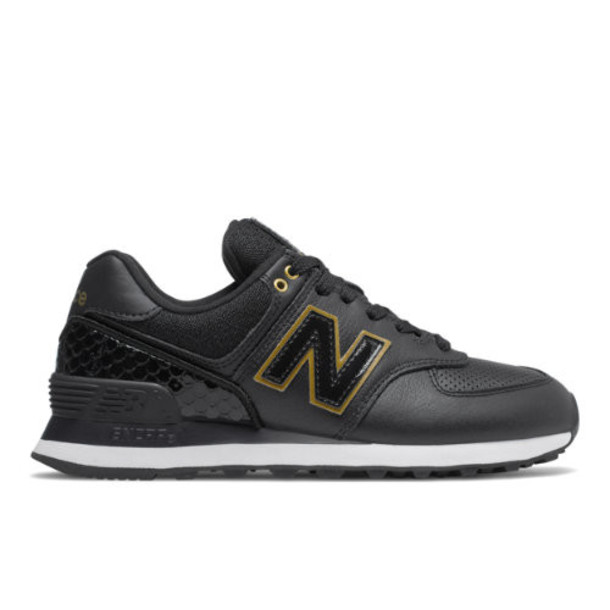 New Balance 574 Women's US Site Exclusions Shoes - Black/Gold (WL574LDF)