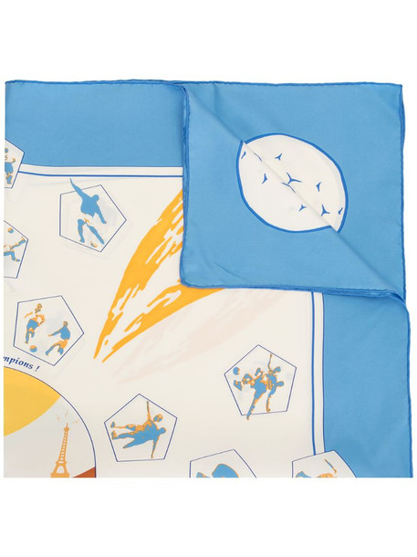 Hermès pre-owned Vive les Champions silk scarf in blue