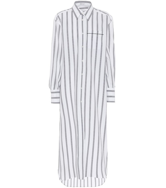 Brunello Cucinelli Exclusive to Mytheresa – Striped stretch-cotton shirt dress in white