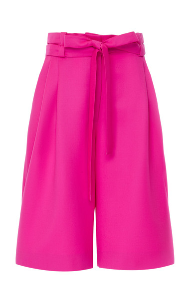 Valentino High-Rise Wool Knee-Length Shorts Size: 36 in pink