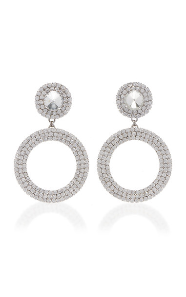 Alessandra Rich Crystal And Brass Drop Hoop Earrings