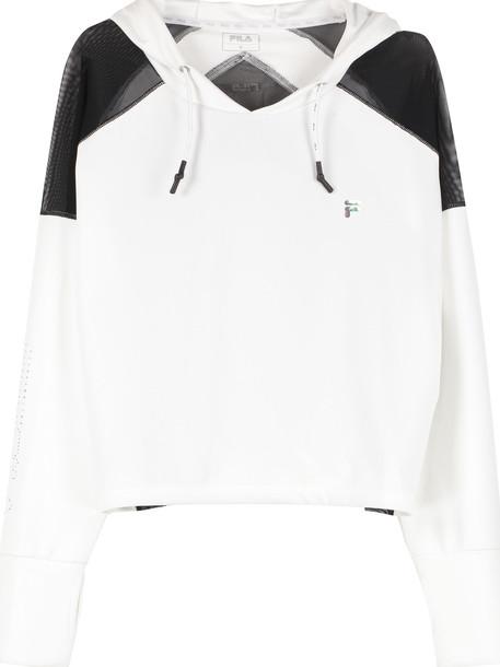 Fila Pescara Cropped Hoodie in white