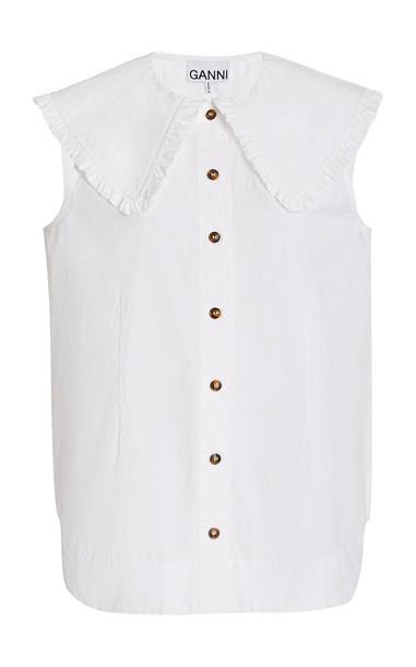 Ganni Cotton Poplin Collared Shirt in white