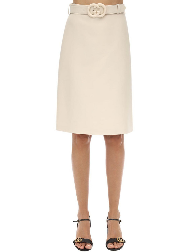 GUCCI Belted Wool & Silk Cady Skirt in ivory
