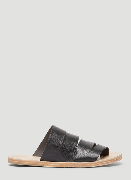 Marsèll Panelled Leather Slides in Black size EU - 36