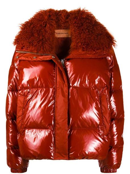 Yves Salomon fur collar jacket in brown