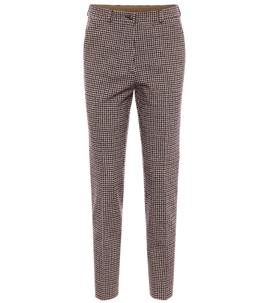 Etro Houndstooth cotton-blend pants in brown
