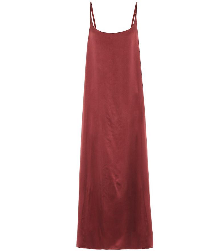 Asceno Silk slip midi dress in red