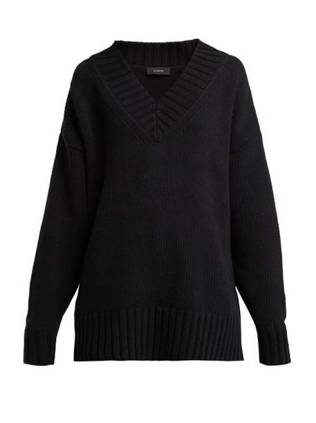 Joseph - Sloppy Joe Cotton Blend Oversized Sweater - Womens - Navy