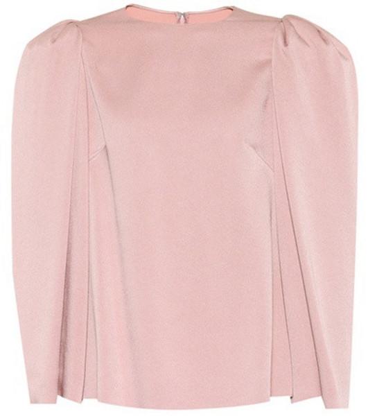 Valentino Puff-shoulder satin top in pink