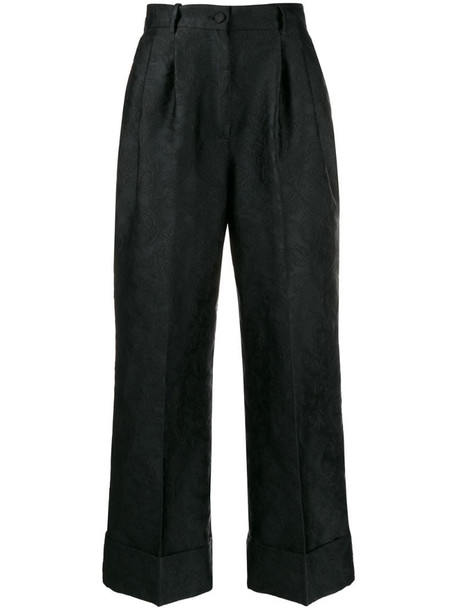 Dolce & Gabbana jacquard cropped flared trousers in black