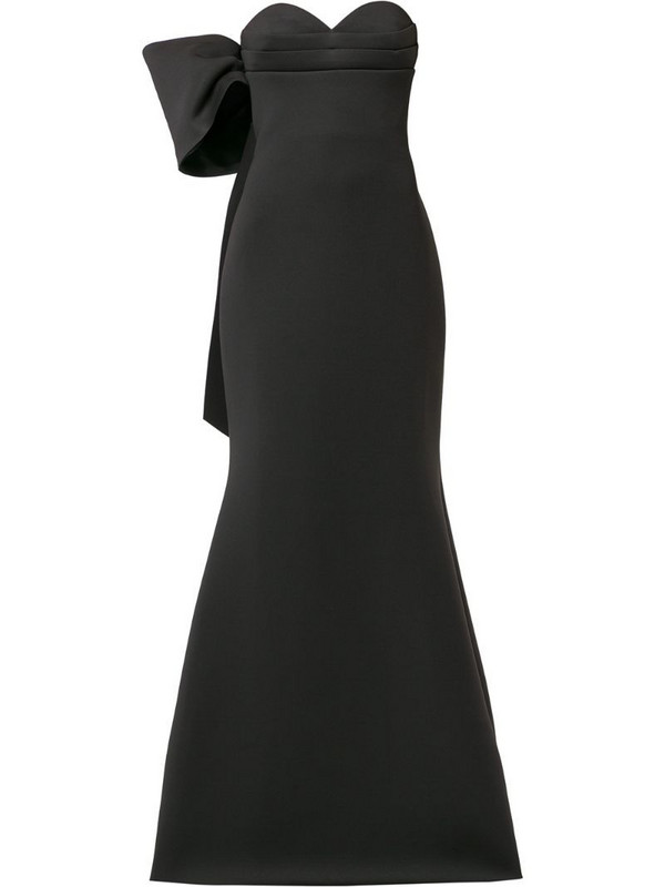 Badgley Mischka asymmetric bow gown in black