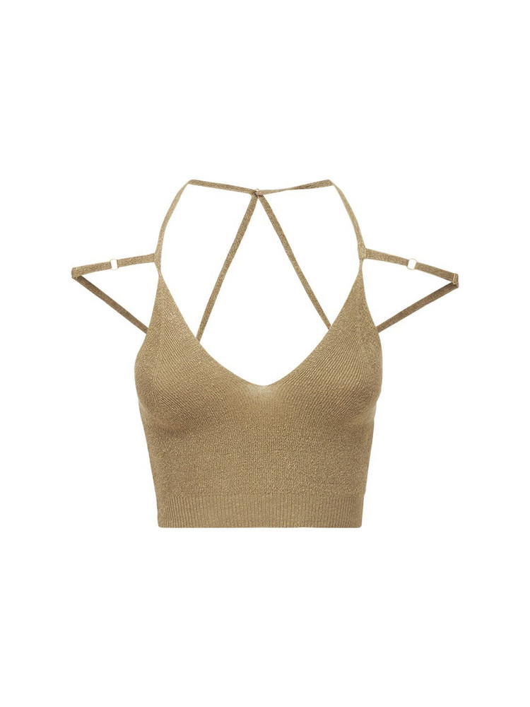 JACQUEMUS La Maille Aneto Linen Knit Rib Crop Top in beige